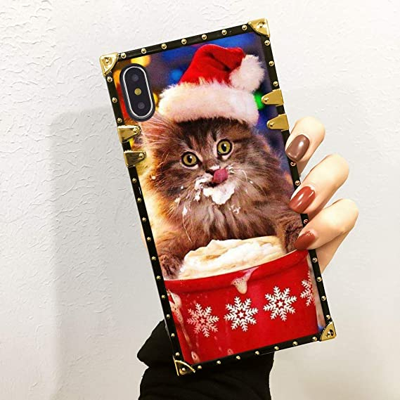 Amazon Com Square Christmas Cat Loves Hot Chocolate Case