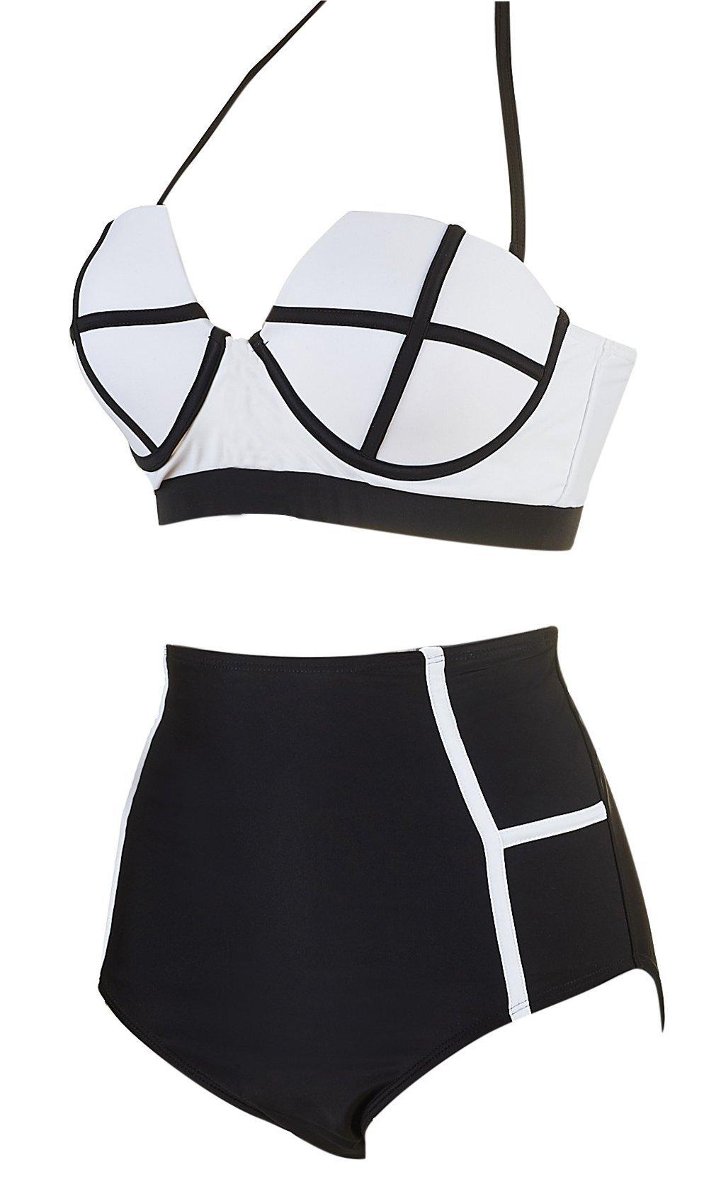 LA PLAGE Women's Colorful High Waist Padded Bathing Suit Size US XX-Large White by LA PLAGE (Image #2)