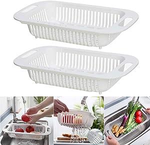 Kizxtrsh 2 Pcs Over the Sink Colander Strainer Basket, Vegetable/Fruit Colander Strainer Drainer Basket, Folding Strainer for Kitchen