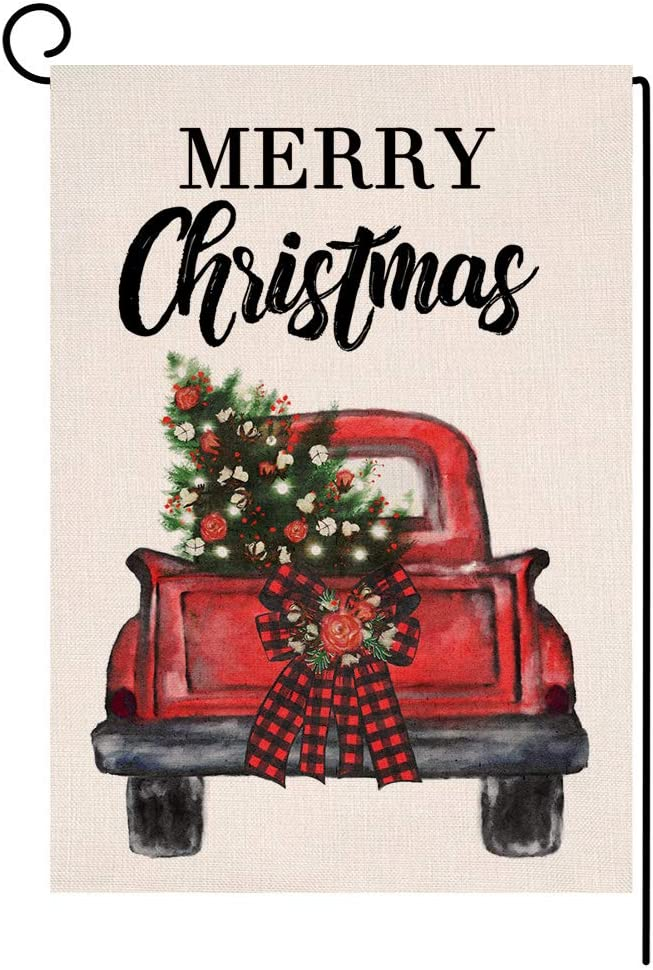 Merry Christmas Tree Truck Garden Flag 12x18 Vertical Double Sided Buffalo Check Plaid Bow Burlap Yard Decorations (144415)