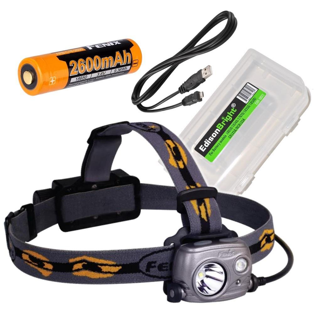 Fenix HP25R 1000 Lumen USB rechargeable CREE LED Headlamp (neutral white), 2 X Fenix 18650 rechargeable Li-ion batteries with EdisonBright BBX3 battery carry case bundle by EdisonBright