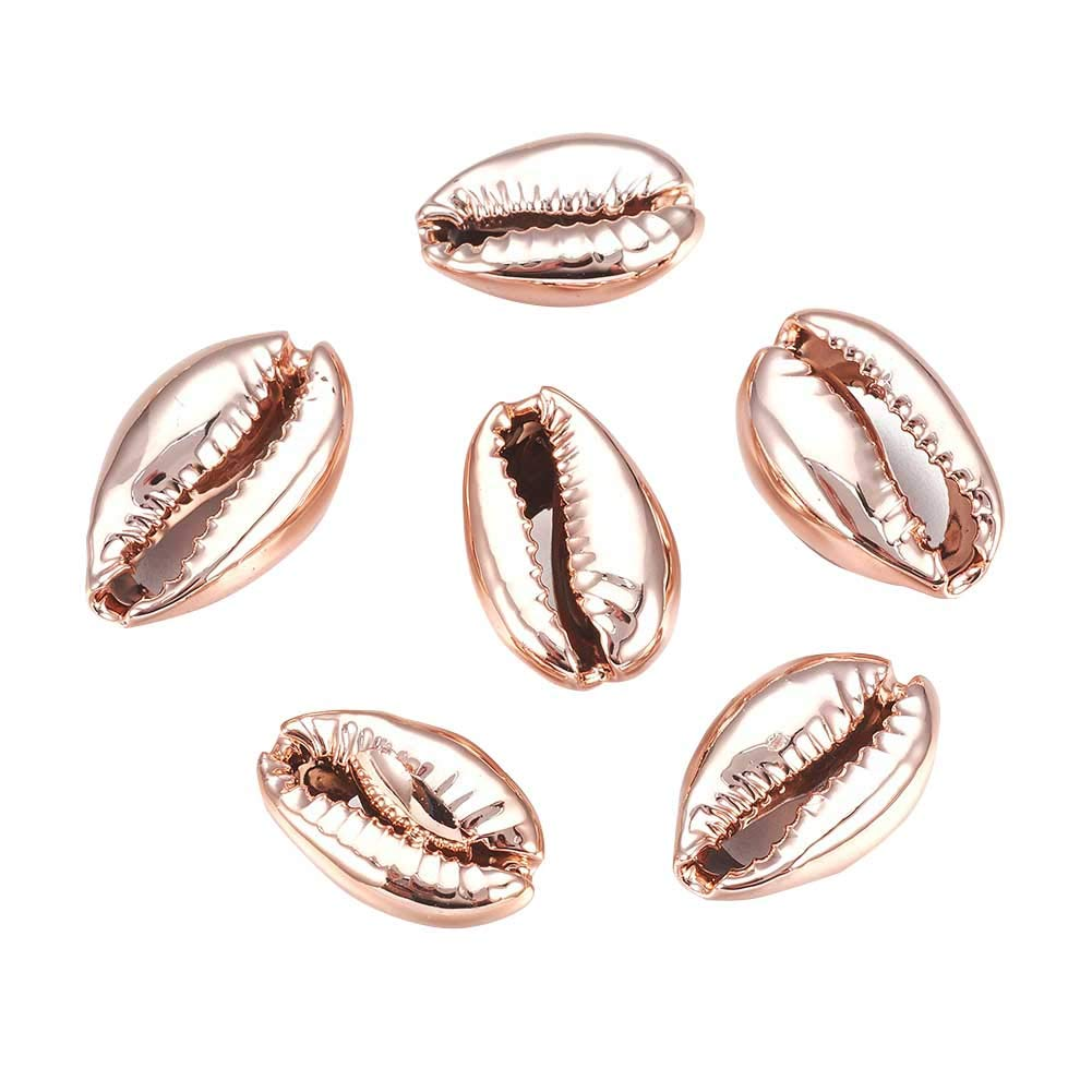 PandaHall About 50pcs Rose Gold Electroplated Shell Beads Cowrie Shells Natural Seashells for Wakiki Hawaii Anklet Bracelet, Craft Making, Home Decoration, Beach Party