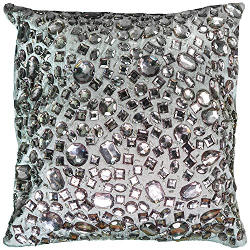 Rizzy Home T05936 Decorative Poly Filled Throw Pillow 12 x 12 Silver Purple