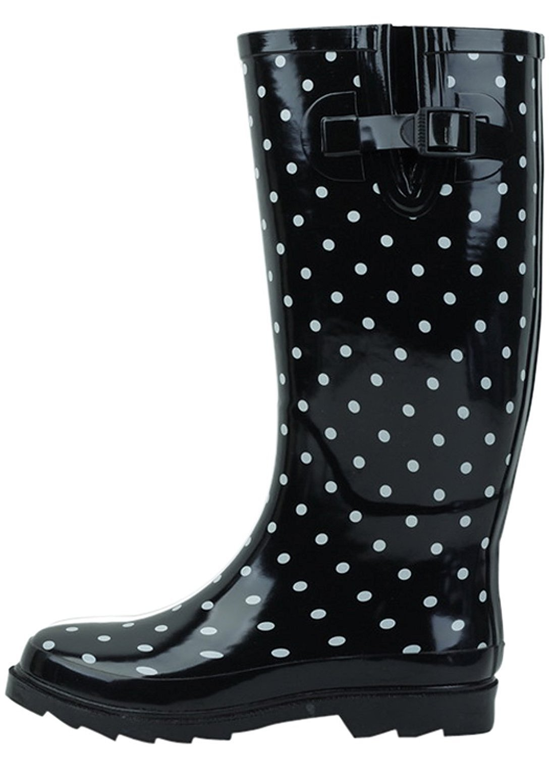 SBC Women's Rain Boots Adjustable Buckle Fashion Mid Calf Wellies Rubber Knee High Snow Multiple Styles (9 B(M) US, Black Dots)
