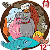 Round Wooden Puzzle - Educational Toy - Toddler Birthday Gift - Chunky Jigsaw - Preschool Learning - Kid Montessori Education - Best Year Old - Baby Boy Girl Nice Animals Cats
