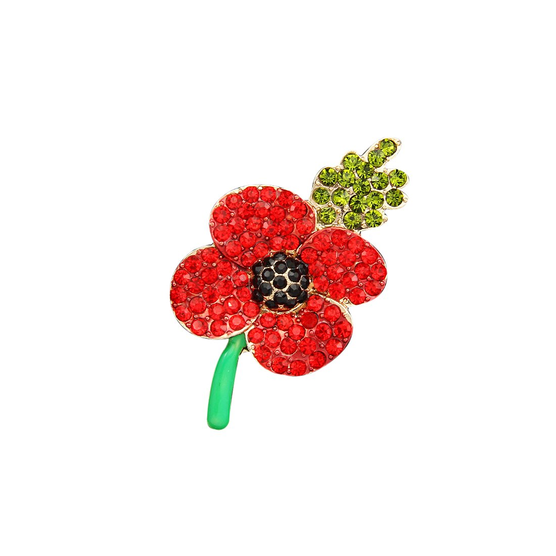 Clest Fh Poppy Brooch Symbolic Crystal Diamante Remembrance Day