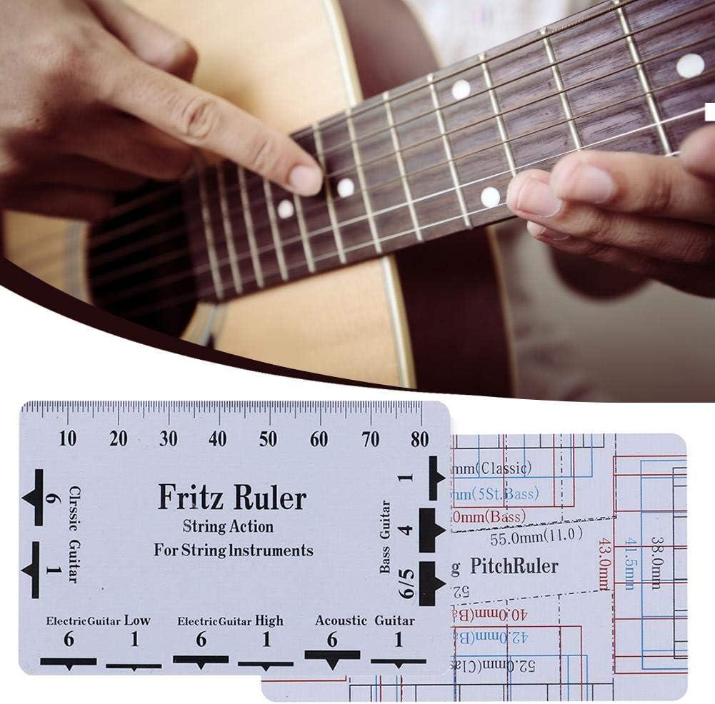 Regla de acción de cuerda Herramienta de calibrador Regla de guitarra para mandolina Banjo Bajo eléctrico Guitarra acústica para instrumentos de cuerda