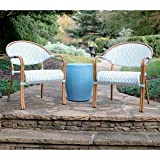 Cheap Leisure Made 609627-NB Monticello Outdoor Seating Set, Blue/White