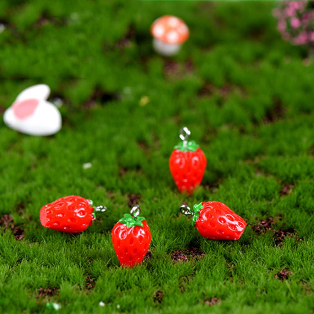 JIAHUADE 5 Pieces Strawberry Fruit Dessert India Thailand Little Figurine Small Doll Crafts Figure Ornament Miniatures