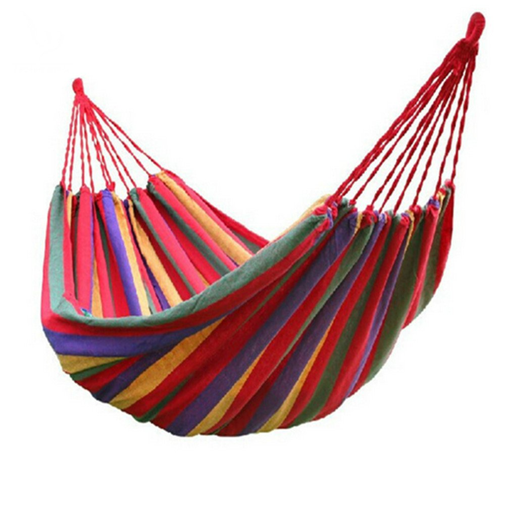 E-Greetshopping Portable Multifunctional 2 Person Hammock Cotton Fabric Travel Camping Hammock Red