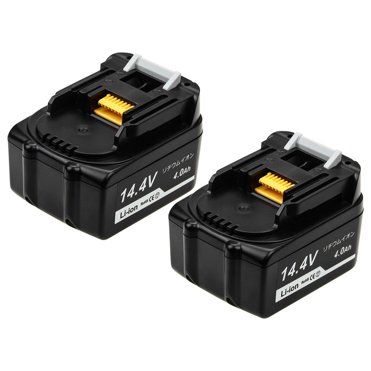 Hitachi 日立 14.4v バッテリー BSL1460B 互換 バッテリー 2個セット 14.4V 4.0Ah BSL1430 BSL1440 BSL1450対応 リチウムイオン電池 電動工具用 4000mAh 充電池 Li-ion 保護回路内蔵 一年長期保証付き「Bluway」 (2) B078GR179G BSL1460B-2 BSL1460B-2