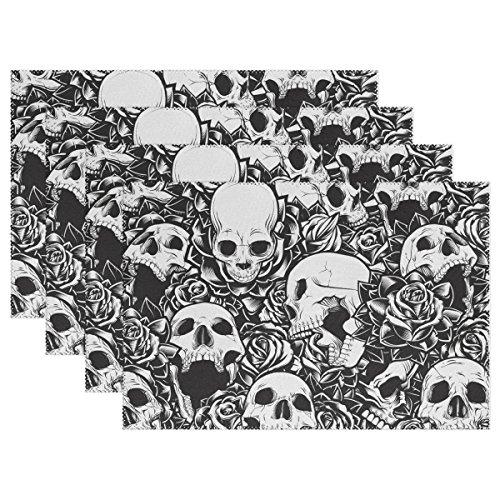 Amazoncom Naanle Roses Skulls Placemat Set Of 6 Black White Sugar