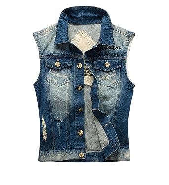 Emmay Gilet da Uomo Senza Maniche Semplice di Gilet Jeans