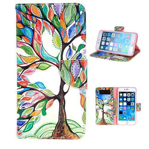 iPhone 6S Plus Case,iPhone 6S Plus Wallet Case, LW-Shop Fashion PU Flip Stand Credit Card ID Holders Wallet Leather Case Cover Folio Magnetic Design for iPhone 6 Plus / 6S Plus 5.5 (Tree And Leaf)