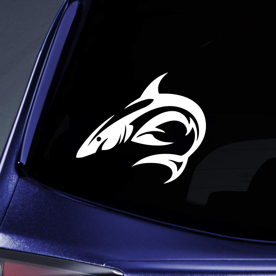 """Bargain Max Decals Tribal Shark Silhouette Sticker Decal Notebook Car Laptop 5.5"""" (White)"""