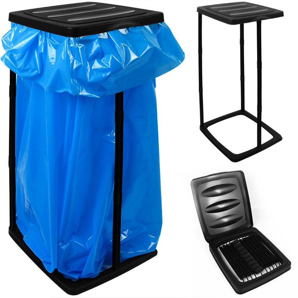 Supporto in plastica per sacco da rifiuti 60 litri di volume - Dimensioni 70 x 35 x 30 cm - colore nero - Contenitore raccolta differenziata Bidone spazzatura Pattumiera Deuba