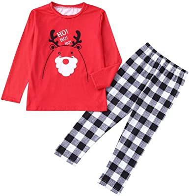 FTXJ 2PCS Christmas Mom Daddy Children Cartoon Letter Deer Top+Pants Family Clothes Pajamas