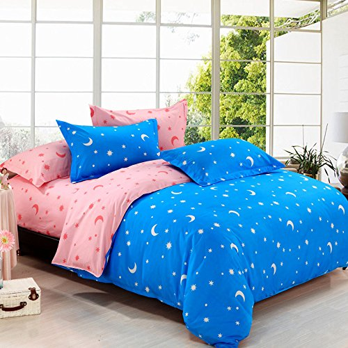 Zhiyuan Stars and Moon Printed Brushed Microfiber Flat Sheet Duvet Cover Pillowcases 4pcs Set,Light Blue & Pink,Queen (Pink And Light Blue Bedding compare prices)
