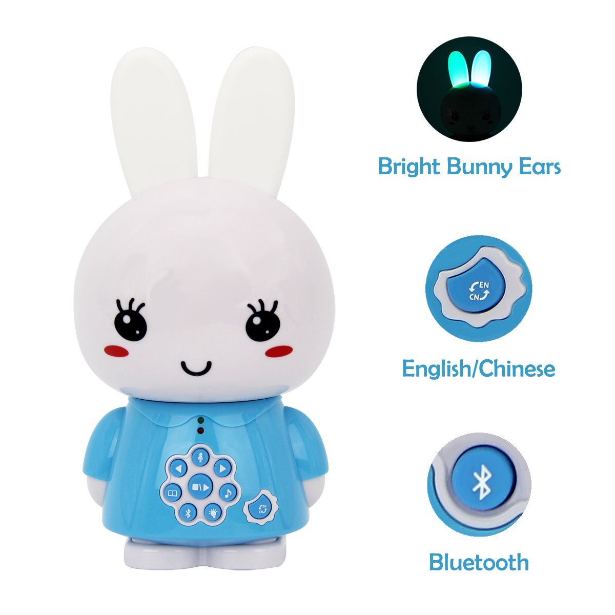 alilo G6+ Honey Bunny 8GB Children MP3 Player Hifi Bluetooth Music Speaker for Kids with LED Night Light Rechargeable Battery (Bilingual Blue)