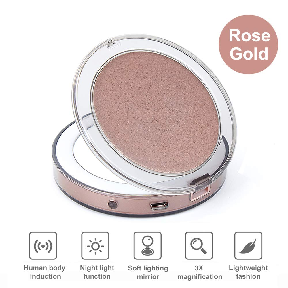 LED Lighted Travel Makeup Mirror, ICEYA 1X/3X Magnification Compact Mirror with Lights, USB Rechargeable LED Lighted Handheld Mirror for Traveling(Rose Gold)