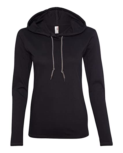 185f14894f96 Amazon.com: Anvil Ladies 100% Ring Spun Cotton Long Sleeve Hooded T ...