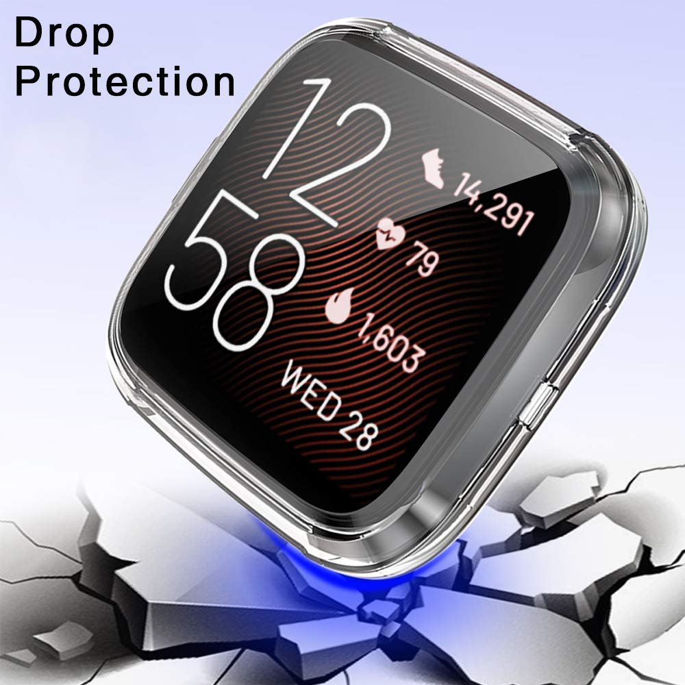 AILRINNI Screen Protector for Fitbit Versa 2, (2 Pack) Full Coverage Soft TPU Bubble-Free HD Clear Screen Protector Case for Fitbit Versa 2 Smart Watch (2019 Release) - Clear&Clear