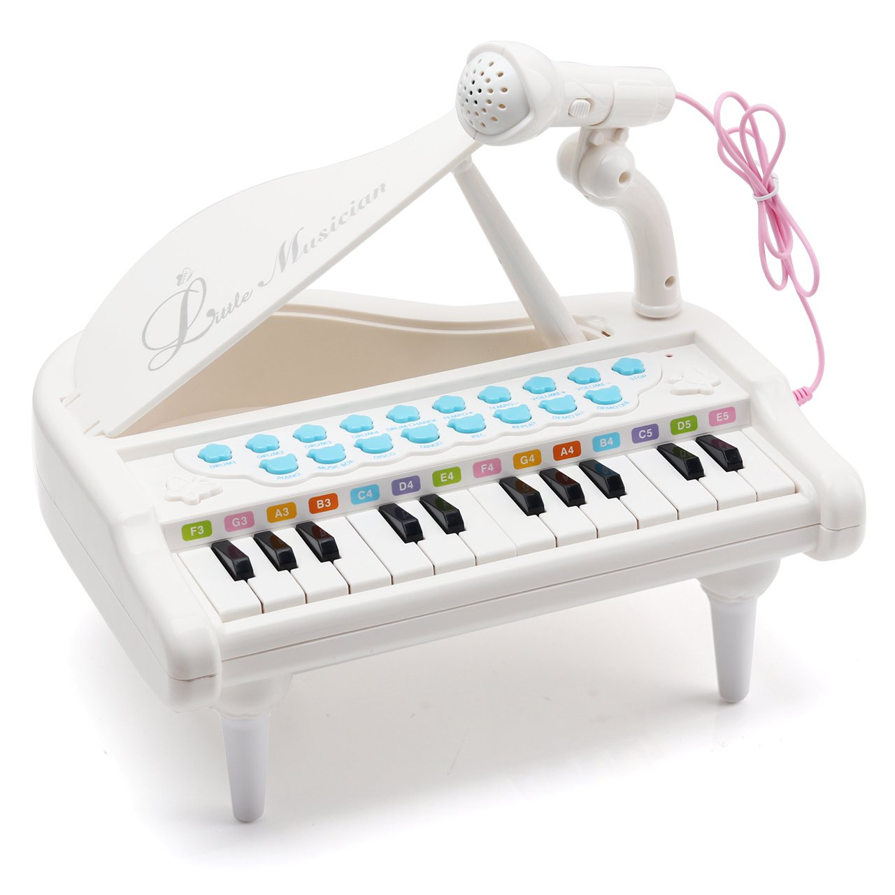 Amy & Benton Piano Keyboard Toy for Kids 24 Keys White Multifunctional Toy Piano with Microphone for Toddlers