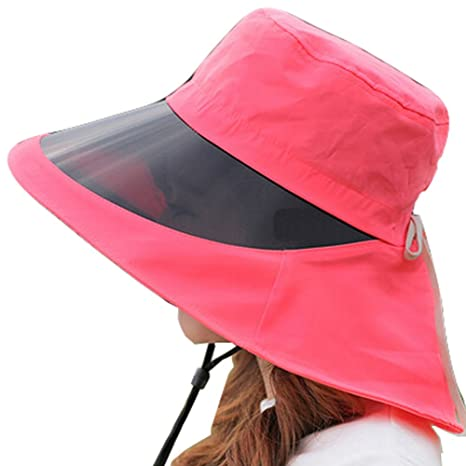 8489c5e8 Amazon.com: Kylin Express Outdoor Wide Brim Summer Cycling Sun Hat UV  Protection Caps with Lens,Red: Sports & Outdoors
