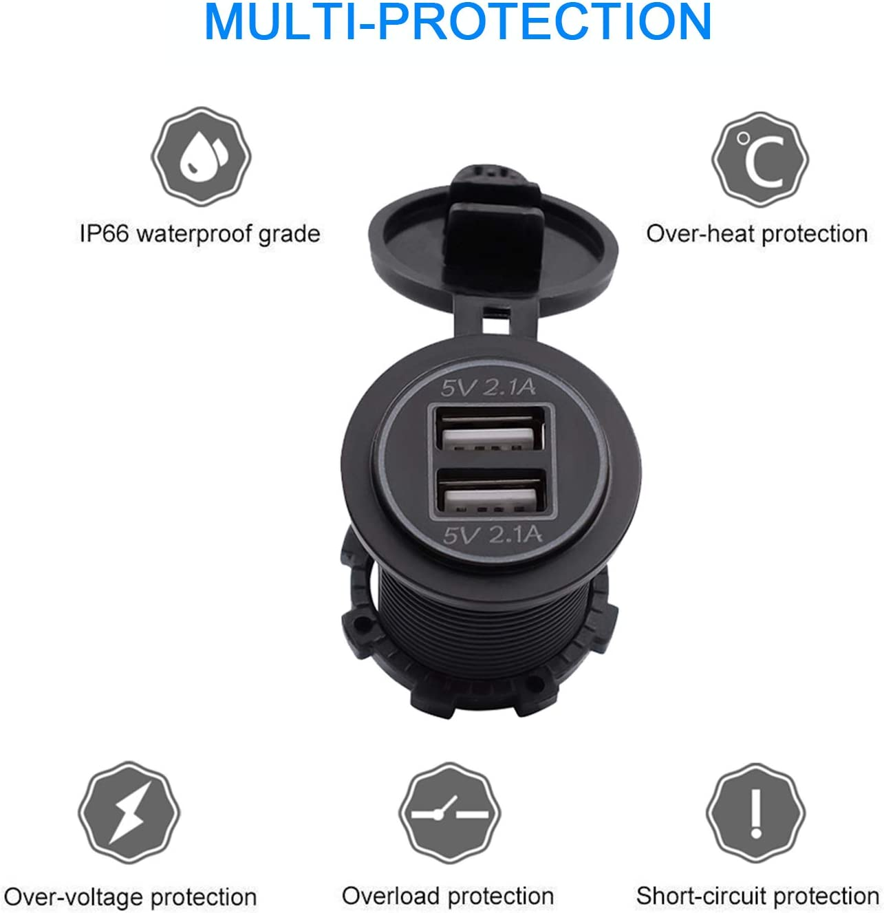 4.2A-Blue Dual USB Charger Socket Power Outlet 2.1A /& 2.1A for Car Boat Marine Mobile with Wire Fuse DIY Kit