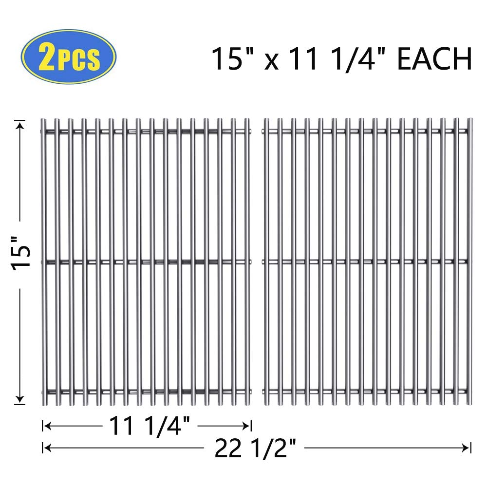 "X Home 7521 Grill Grates 15"" Replacement for Weber Spirit 200 E/S-210 E/S-200(Side-Mounted Control Panel), Genesis Silver A, Spirit 500, Stainless Steel 7522 Cooking Grid 15 inch(2 PCS, 15"" x 11 1/4"")"