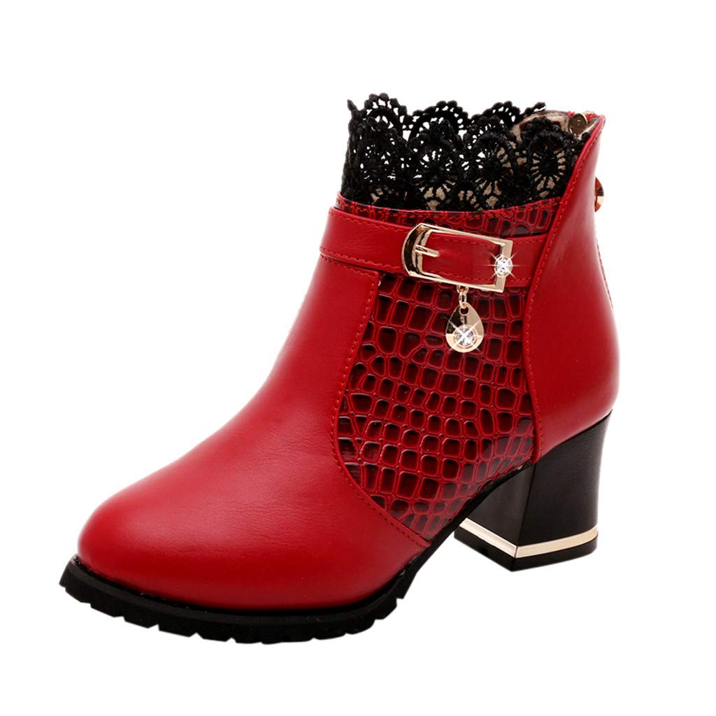 Women's Boots Fall Winter Vintage Leather Ankle Back Zipper Lace Short Platform Shoes Red by Han1dsome
