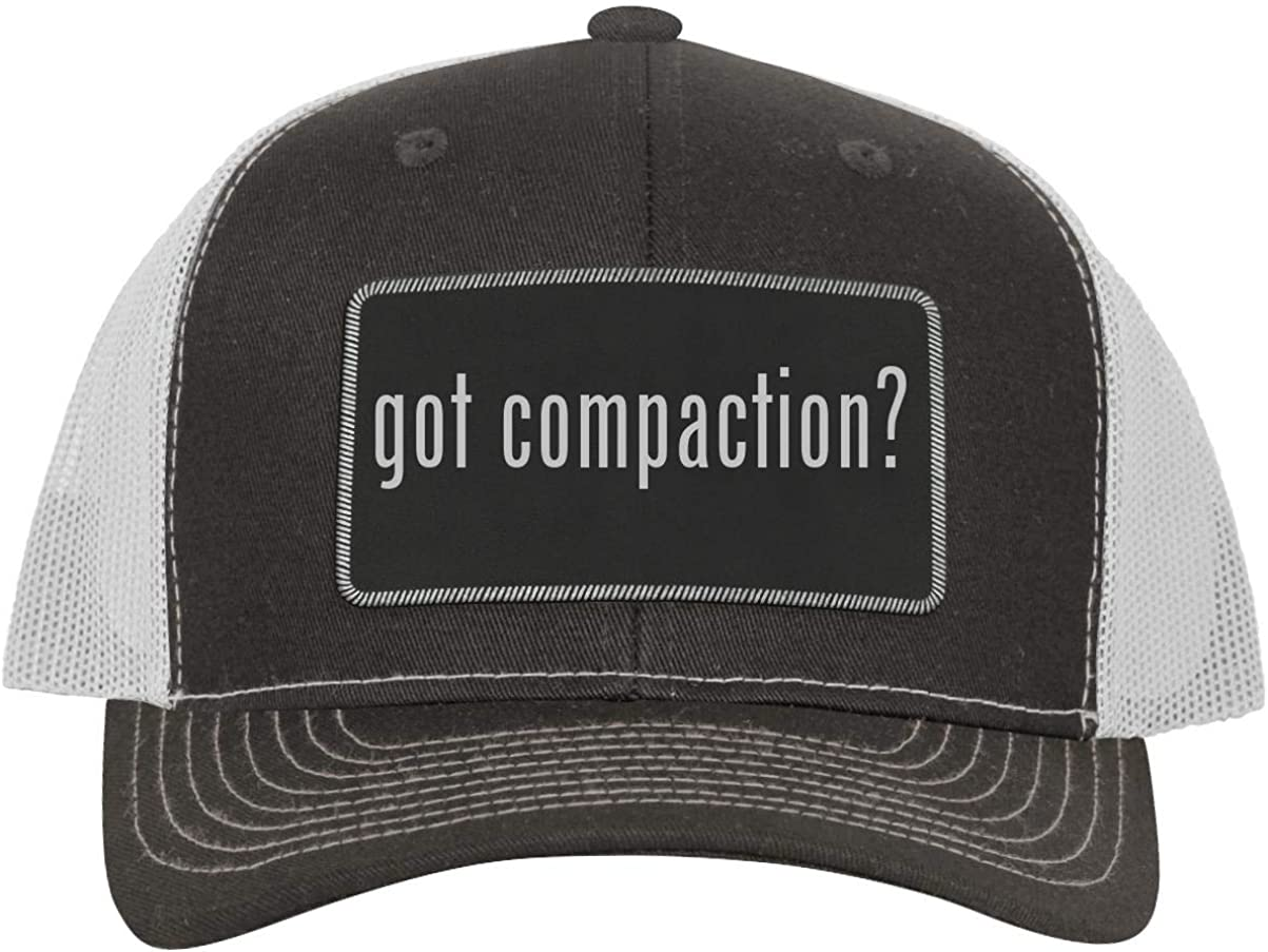 One Legging it Around got Compaction? - Leather Black Metallic Patch Engraved Trucker Hat