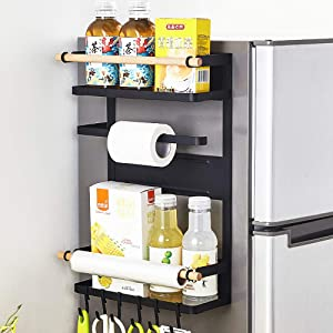 3 Tier Metal Kitchen Rack Magnetic Fridge Organizer Spice Rack Paper Towel Roll Holder Refrigerator Storage Shelf with 6 Removable Hooks, Black