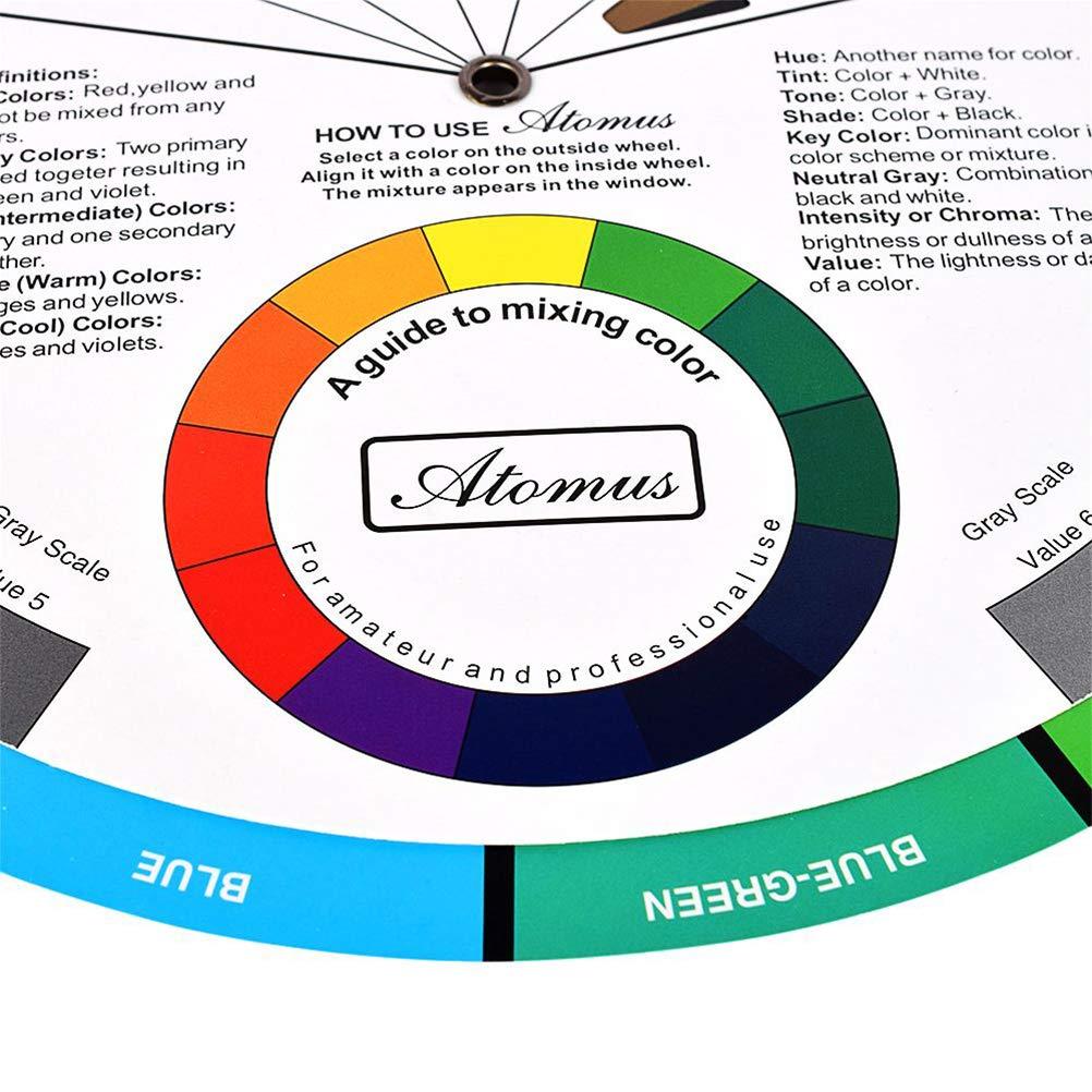 Farbmischung Anleitung zum Mixen von Farben Pigmentfarbe Healifty Pocket Farbrad f/ür K/ünstler Tattoo