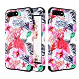 iPhone 8 Case Pink Flamingos Design,Gostyle iPhone 7 Cover 3 Layer Protection Hybrid Shockproof Heavy Duty Hard PC + Soft Slicone Rubber High Impact Resistant Cellphone Protective Case
