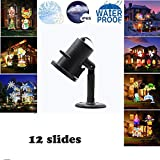 Huamai Slide Snow LED Projector Spotlights Waterproof Moving Rotating for Party/Christmas/Festival/Holiday/Kid Room/Home Decor(12 Patterns Lens)