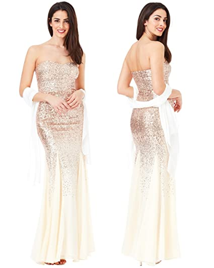 Goddiva Champagne Gold Strapless Sequin Chiffon Inserts Maxi Dress-Wrap Bridesmaid Party (14)