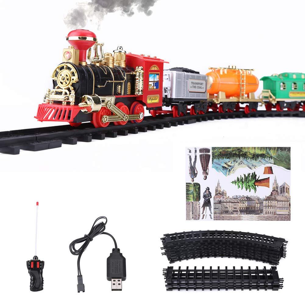 Dilwe RC Modelo Vehículo, Vehículo de Tren de Humo Eléctrico Vehículo Modelo Recargable de Control Remoto (Vehículo de Pasajeros)