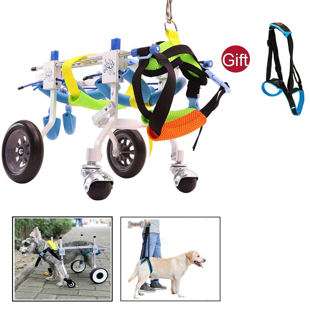 CHUDAN Adjustable Dog Cart for Rear Support Wheelchair, Suitable for pet Practice Leg Disability, Walking, for The Rehabilitation of Pets (with Pets Auxiliary Belt),XS