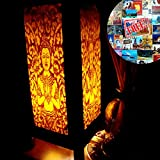 Angle Style Yellow Golden Handmade Asian Oriental Wood Table Bedside Light Night Lamp Gift Bedroom Garden Shade Frame Free Adapter a Us 2 Pin Plug #416