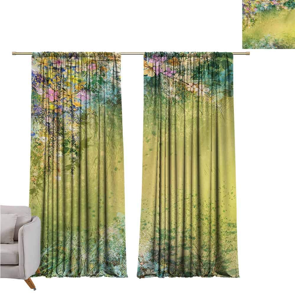 Flower Shading Insulated Curtain Spring Foliage with Leaves Hand Drawn Aesthetic Inspiring Envrionmental Friendly Picture Soundproof Shade W52 x L95 Inch Green by GUUVOR