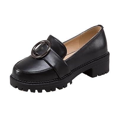 AgooLar Femme à Talon Correct Couleur Unie Tire PU Cuir Rond Chaussures Légeres