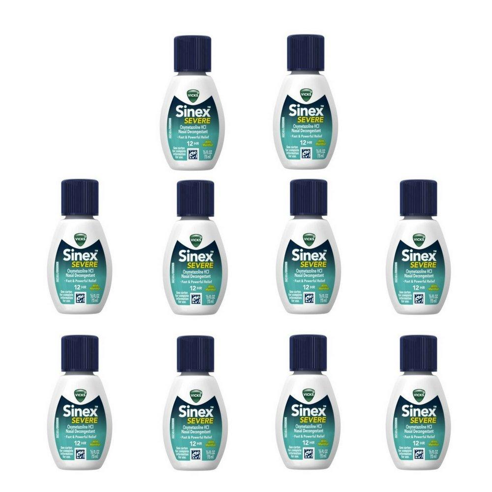Vicks Sinex Severe Sinus Nasal Spray with Menthol, 0.50 Oz (Pack of 10)