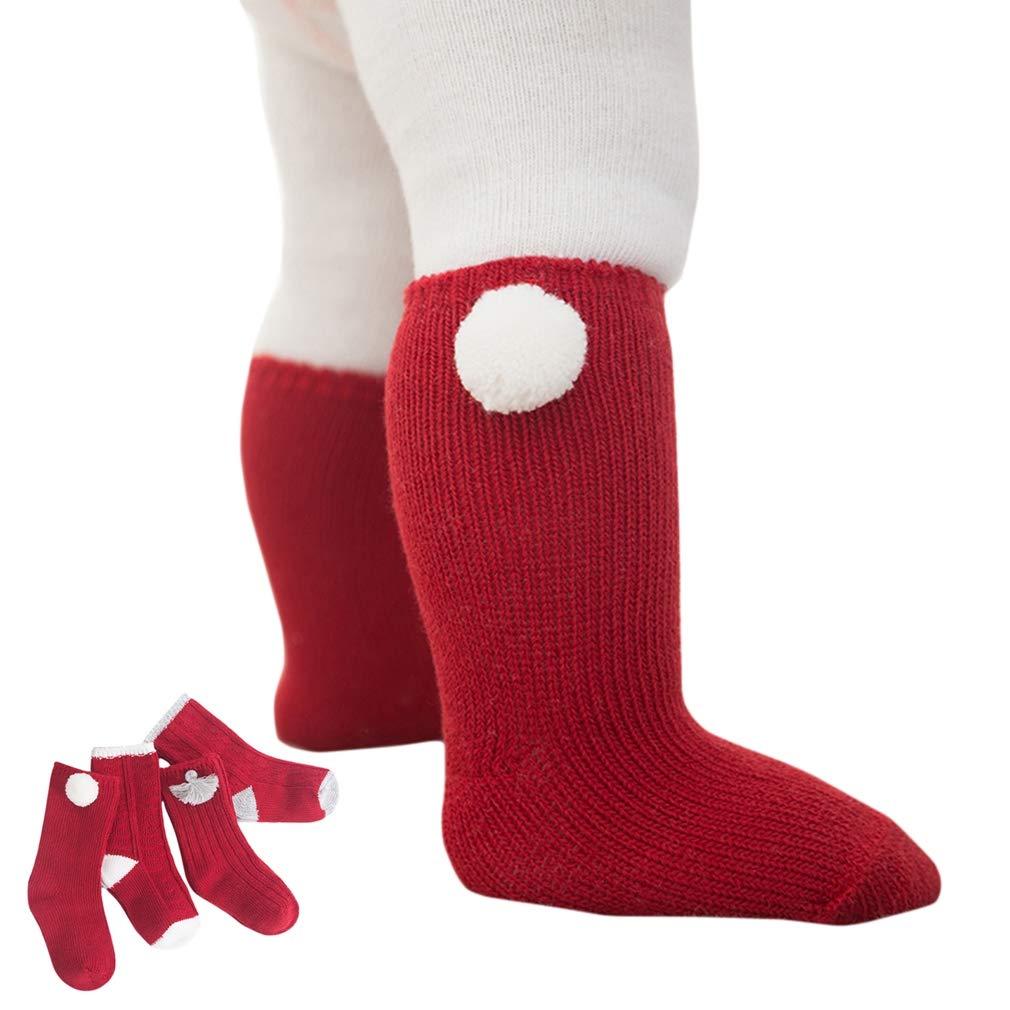 Warm Acrylic Velvet Thick 1-3Y Xiang Ru 4-Pack Newborn Baby Socks Red