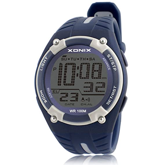 Hombre Cronómetro digital,100m resistente al agua Luminoso Gran número 24 horas Reloj deportivo Piscina Aire libre Relojes digitales Adolescentes-D: ...