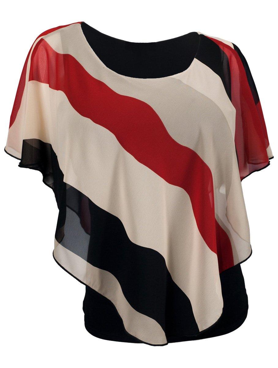 eVogues Plus Size Layered Poncho Top Stripe Print Red - 1X