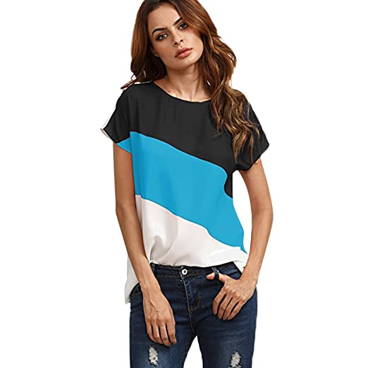 a42499282911c Women Shirts Clearance Sale Teen Girls Casual Loose Short Sleeve Chiffon  Color Block Tunic T-