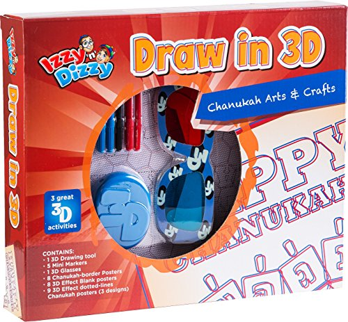 Chanukah Draw in 3D Kit - Draw in 3D Tool, 5 Mini Markers, Glasses, Borders, Effect Posters and Dotted Lines - Hanukah Arts and Crafts and Games by Izzy 'n' - Izzy Glasses