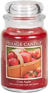 Village Candle Crisp Apple 26 oz Glass Jar Scented Candle, Large