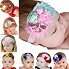 ZHW Baby Girl's Multi Colour Flower Hair Bow Baby Headbands 8 Pack